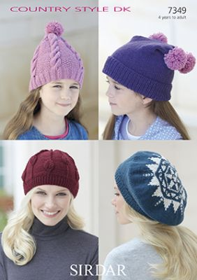Sirdar Country Style DK - 7349  Hats Knitting Pattern